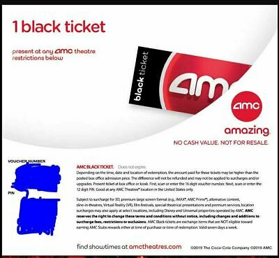 AMC Theaters 1 Black Movie Ticket - No Expiration - Fast Email Delivery!!