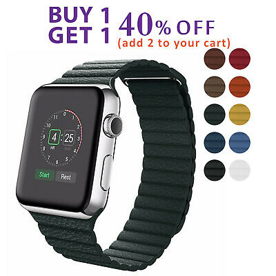 Apple Watch Magnetic Leather Loop Band fit Series 5 4 3 2 1 42mm 38mm 44mm 40mm