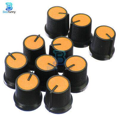 10PCS Orange Face Black Potentiometer Knob Plastic Rotary Taper 6mm Hole
