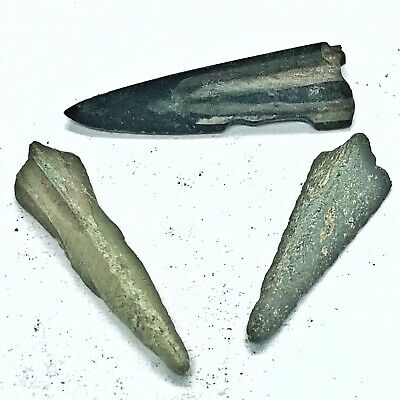 3 Authentic Ancient Roman Or Greek Arrow Heads Spear Point Artifact Europe Old