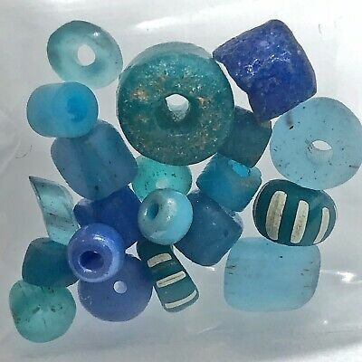 15 Blue Ancient & Medieval Glass Bead Lot Mixed Roman Venetian Byzantine Etc Old