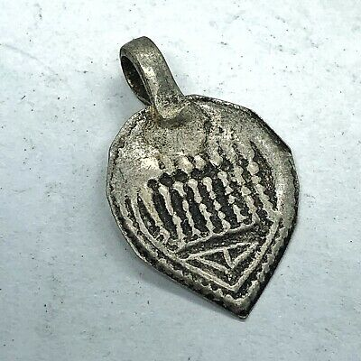 Late Or Post Medieval Aged Silver Pendant Charm Artifact Jewelry Old Antique
