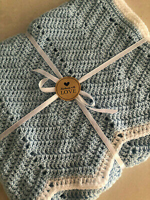 Handmade Crochet Baby Blanket Bassinet Car Cot Floor Pram  Blue Boy