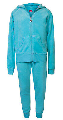 Love Lola Childrens Girls Velour Cuff Tracksuit Turqouise Age 3/4 Brand New