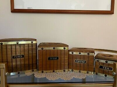 Set Of 4 Canisters Square Graduated Wooden Flour Sugar Coffee Tea Vintage Retro