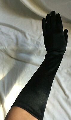 "Vintage 1960s 16"" Elbow Length Glossy Black Nylon Long Opera Gloves Size M"