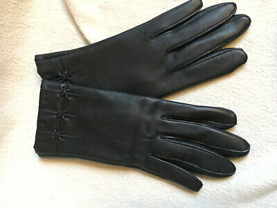 VINTAGE 1970s  MORLEY Dark Blue Faux Leather Embossed Wrist Gloves Size 6.5