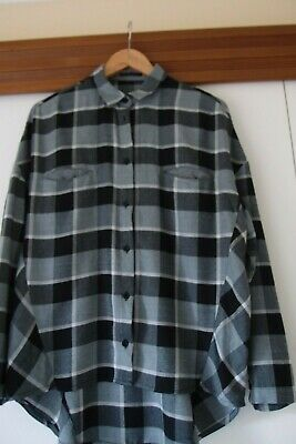 SISLEY size s/m black and grey check flannel shirt ladies