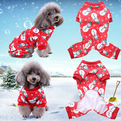 Pet Dog Cat Christmas Jumpsuit Pajamas Clothes Puppy Costumes Clothes Outfits