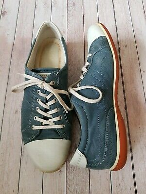 Ladies Ecco Navy & White Soft Leather Lace Up Casual Trainers Size UK 6