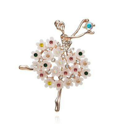 Women Dancing Girl Flower Colorful Crystal Brooch Pin Costume Bridal Jewelry NEW