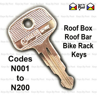 Roof Rail Cycle Rack Key Cut to Code 2 x Halfords /& Thule Roof Box Roof Bars