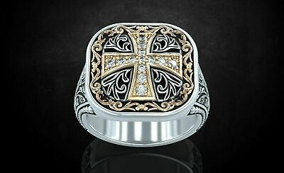 Patterns & Cross Ancient Stylish Men's Unique Ring Oxidized 925 Sterling Silver