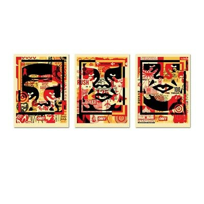 OBEY by Shepard Fairley 3 FACE COLLAGE 3 Print SET Poster 18X24 Signed by Artist