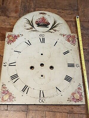 Antique Painted Grandfather Longcase Clock Dial Face 47 x 33 cms
