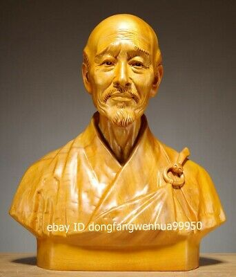 Chinese Cypress Wood Hand Carved Master Hong Yi Monk Li Shutong bust Sculpture
