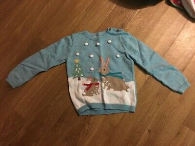 John Lewis - Girls Christmas Bunny Jumper - 2-3 Years - Great Condition