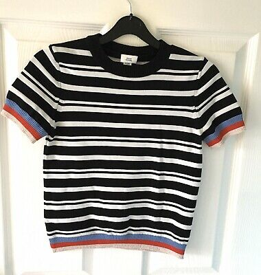 BNNT Girls RIVER ISLAND Black Stripe Crop Jumper Top Age 9-10