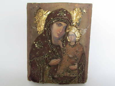 19 century Russian Orthodox Hand Painted on wood Icon Mother of God in oklad