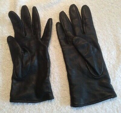 Ladies Soft Vintage Leather Gloves. Cotton Lining. Small.