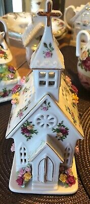 Royal Albert Old Country Roses Applied Flowers Church Light