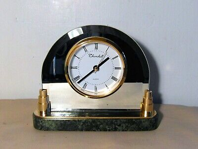 Mirrored  Mantle/Desk Clock With A Marble Base - Quartz