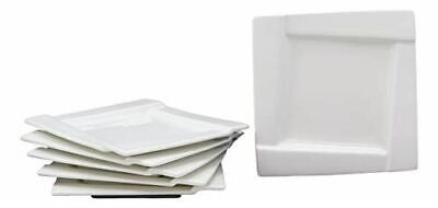 Ebros Pack Of 6 Dining Contemporary White Porcelain 5.5 Inch Square Plates