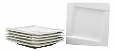 Ebros Pack Of 6 Dining Contemporary White Porcelain 8 Inch Square Plates