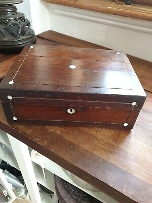 Antique Rosewood Jewellery  Sewing Box Mother Of Pearl Sewing Box 29x22x10 cms