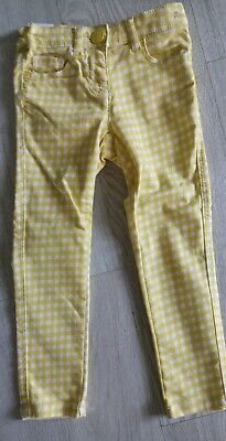 NEXT Girls Yellow Checked Trousers 4 years BNWOT
