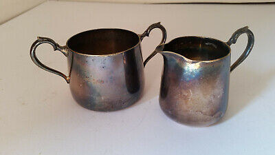 VINTAGE EPNS Silver Plated Nickel MILK JUG & SUGAR BOWL DUO