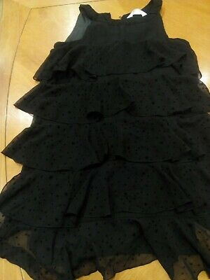 H & M Black frilled, layered/tiered girls party dress 11-12 y
