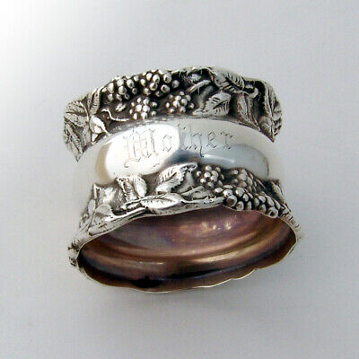 Raspberry Border Napkin Ring Sterling Silver 1900 Mother