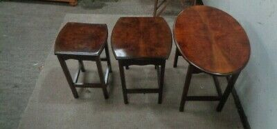 Antique BURR Walnut Nest 3 Tables Coffee Table