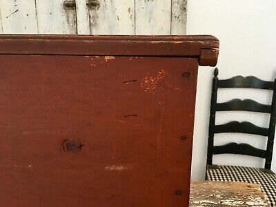 Early Aafa Antique Folk Art Blanket Chest Trunk Forged Square Nails Oxblood Red