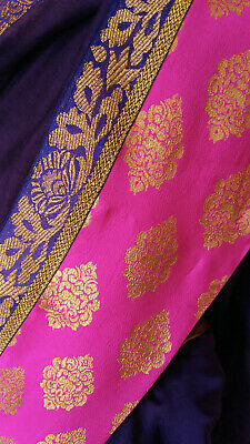 Sari / saree indiano nuovo! Viola e rosa brillante, India!
