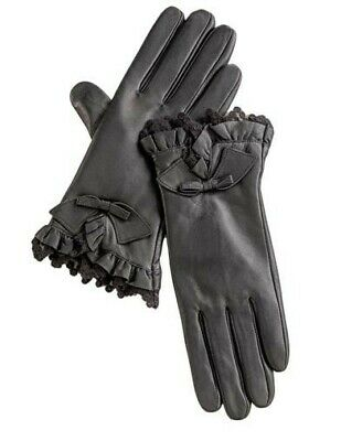 Victorian Trading Co Lace Ruffled Cuff w/ Bow Black Leather Gloves MD