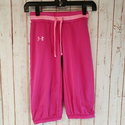 Under Armour Girls Cropped Athletic Pants YMD Medium Pink Cold Gear NICE!!