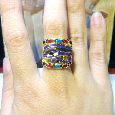 The Royal Ring alternated with Horus Eye Egyptian New Sterling Silver egypt Band