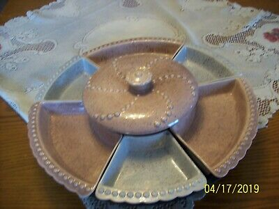 William Frazier California Pottery Lazy Susan Pink & Gray Speckled & Turntable