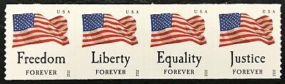 2012 #4637-4640 - Forever - FOUR FLAGS - Strip of 4 Coil Stamps - Mint NH