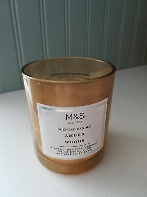 *EMPTY* M&S CANDLE GLASS JAR Amber Woods *candle making, crafts*