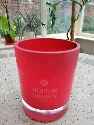 *EMPTY* Molton Brown RED GLASS CANDLE JAR with box *candle making, crafts*