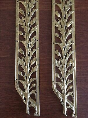 "Vintage Gold Plated Sherle Wagner Thistle Push Plate 19"" SET OF 2"