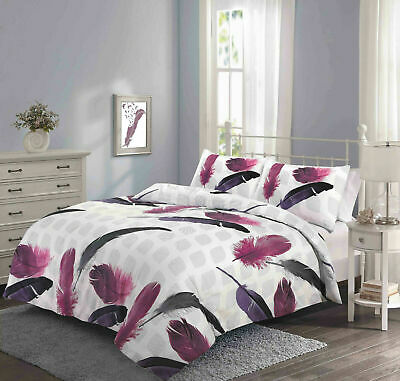 Feathers Feather Duvet Quilt Cover Set Bedding Pink White Grey Purple All Size