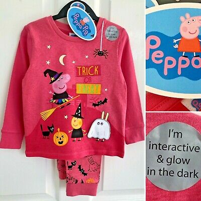 Tu PEPPA PIG Trick or Treat Girls Pink Cotton Glow Pyjamas - 2-3 Years - New!