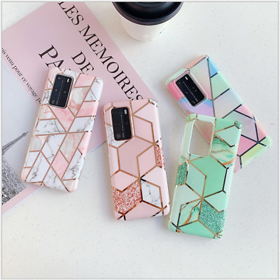 Geometric Marble Case for Samsung S20/s10/A10/A20e/A40/A50/A70 Soft Pastel Cover