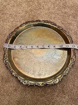 """Vintage Elegant Ornate SHERIDAN SILVER CO. Silverplate 12"""" 3-Footed Serving Tray"""