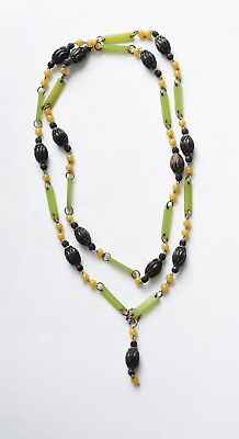 Striking 20s/30s Art Deco Chain-Linked Necklace w/Green Celluloid & Wooden Beads