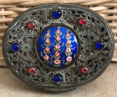 Antique French Jeweled Guilloche Enamel Compact Filigree Jewels Mirror Puff Hp